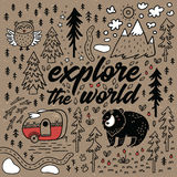 Explore the world cartoon map. Comic vector card. Explore the world. Positive inspiration lettering quote. Vector illustration of funny map with nature Royalty Free Stock Image