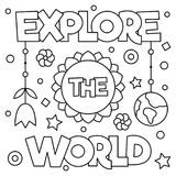 Explore the world. Coloring page. Vector illustration. Explore the world. Coloring page. Black and white vector illustration Royalty Free Stock Photography