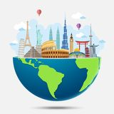 Explore the world with famous architectural landmarks vector illustration