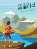 Explore the world,Let`s go hiking,A young man hikers looking at a beautiful nature royalty free illustration