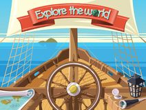 Explore the world with sailing ship Royalty Free Stock Images