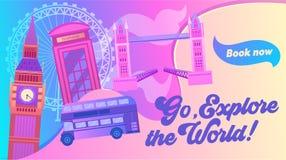Explore the World Typography Banner. Visit Capital of United Kingdom. City has Sight Like Bridge, Elizabeth Tower with Big Ben. Underground and London Eye stock illustration