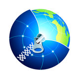 Explore World Wide World. Globe under world wide web zipped cover concept illustration Royalty Free Stock Photos
