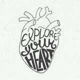 Explore your heart in anatomic heart on vintage background Stock Photography