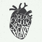 Explore your heart in anatomic heart on vintage background stock illustration