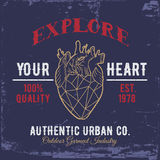 Explore Your Heart.Print for shirts. Royalty Free Stock Photography
