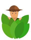 Explorer. An explorer hidden behind jungle leaves stock illustration