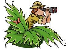 Explorer. An explorer spies something through his binoculars stock illustration