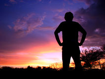 Explorer. An explorer watches the sunset in the Indian wild Stock Photography