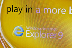 Explorer 9. Displayed on computer screen Royalty Free Stock Photos
