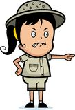 Explorer Angry. A cartoon girl explorer angry and pointing Royalty Free Stock Photos
