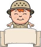 Explorer Banner. A cartoon illustration of a boy explorer with a banner stock illustration