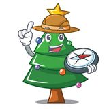 Explorer Christmas tree character cartoon. Vector illustration Stock Photo