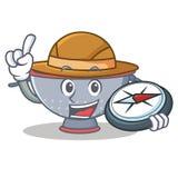 Explorer colander utensil character cartoon Royalty Free Stock Photo