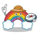 Explorer colorful rainbow character cartoon. Vector illustration royalty free illustration