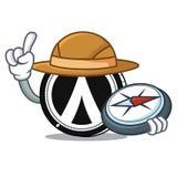 Explorer Dentacoin mascot cartoon style. Vector illustration Royalty Free Stock Photo