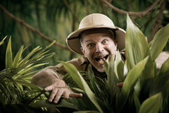 Explorer discovering rainforest jungle Royalty Free Stock Images