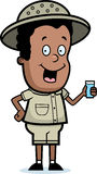 Explorer Drink. A happy cartoon child explorer with a drink of water Stock Images