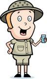 Explorer Drinking. A cartoon cartoon explorer with a glass of water Stock Photography