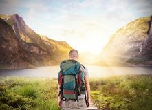 Explorer find a lake. In beautiful landscape Royalty Free Stock Photo