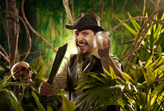 Explorer finding a treasure Royalty Free Stock Photography