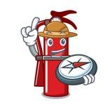Explorer fire extinguisher mascot cartoon. Vector illustration Royalty Free Stock Photography