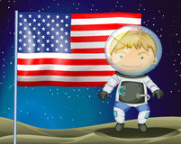 An explorer beside the flag of America Royalty Free Stock Photo