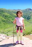 Explorer girl hicker stick high green valley Stock Photos