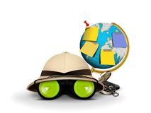Explorer Hat with Binocular and Globe Royalty Free Stock Photos