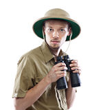 Explorer holding binoculars Royalty Free Stock Photo