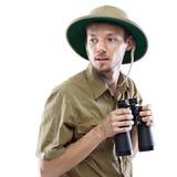 Explorer holding binoculars Royalty Free Stock Photos