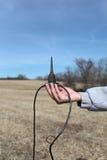 Explorer holds Sensor Geophones Stock Photo