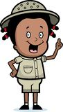 Explorer Idea. A cartoon explorer girl with an idea royalty free illustration