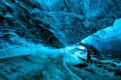 Ice cave, vatnajokull national park, Iceland. Explorer inside an ice cave, vatnajokull national park, Iceland royalty free stock image