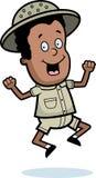Explorer Jumping. A cartoon boy explorer jumping and smiling royalty free illustration