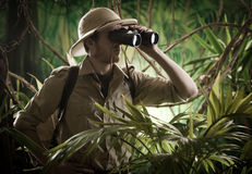 Explorer in the jungle with binoculars. Expert explorer in the jungle looking away through binoculars Royalty Free Stock Photo