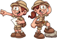 Explorer kids. Boy and girl in safari outfits. Vector clip art cartoon illustration with simple gradients Royalty Free Stock Photos