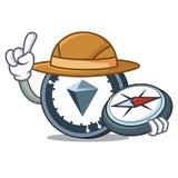 Explorer KuCoin Shares mascot cartoon. Vector illustration Stock Photography