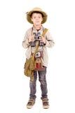 Explorer. Little explorer boy on safari isolated in white stock photo