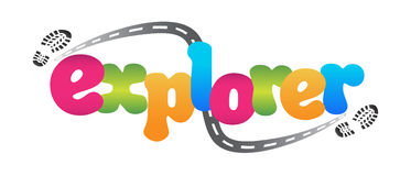 Explorer logo. With colorful letter, footprint and road vector illustration