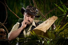 Explorer lost in jungle Royalty Free Stock Images