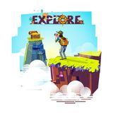 Explorer man with binocular on top of the mountain looking for t. Reasure. backpacker character. adventure and explore concept. typographic for header design stock illustration