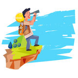 Explorer man with telescope. backpacker character. adventure con Stock Photos