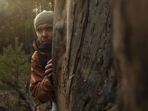 Explorer observes in search of  something new Stock Photography
