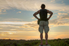 Explorer observing landscape Royalty Free Stock Photos