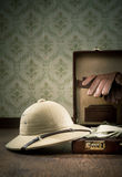 Explorer packing for a travel Royalty Free Stock Photo