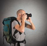 Explorer photographing landscapes Stock Photo