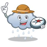 Explorer rain cloud character cartoon. Vector illustration royalty free illustration