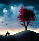 Found a big tree. Explorer riding a elephant in the desert and discovers a red tree Stock Photos