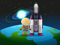 An explorer beside the rocket Royalty Free Stock Photos